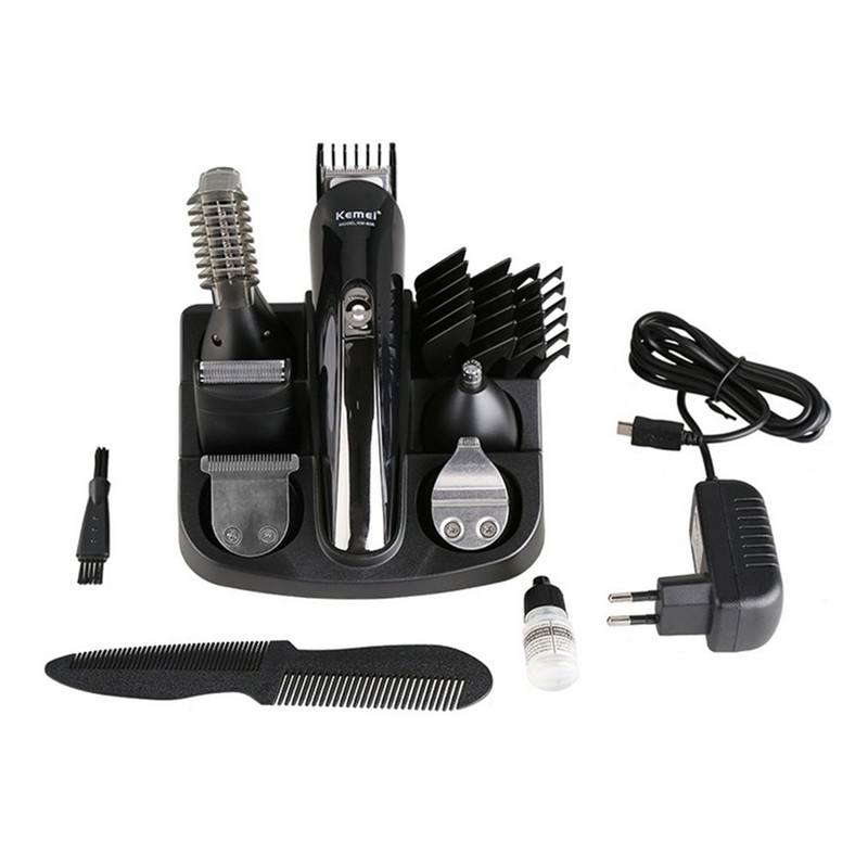 Kemei 6 in 1 Rechargeable Hair Trimmer Hair Clipper Electric Shaver Beard Trimmer Styling Tools Shaving Machine KM-600 EU Plug lonbv lch 8560 12w rechargeable hair clipper 220v 2 flat pin plug