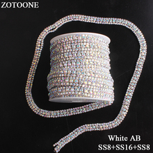 ZOTOONE 3Rows SS8&SS16 Crystal AB Rhinestone Trim Strass Stone Applique Flatback Chain For Clothes DIY Sewing Stones