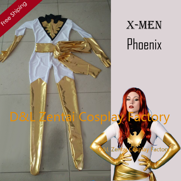 free shipping dhl real amazing x men whitegold jean grey phoenix superhero zentai catsuit for woman halloween costume xm0011 - Halloween Costumes In Phoenix