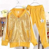 Весенняя и осенняя одежда с блёстками для девочек Повседневный вельветовый костюм для малыша 0744
