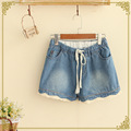 TIC-TEC 2017 New Arrival Fashion Summer Women Shorts Loose Cotton Short lace Casual female Slim Denim Shorts P3077