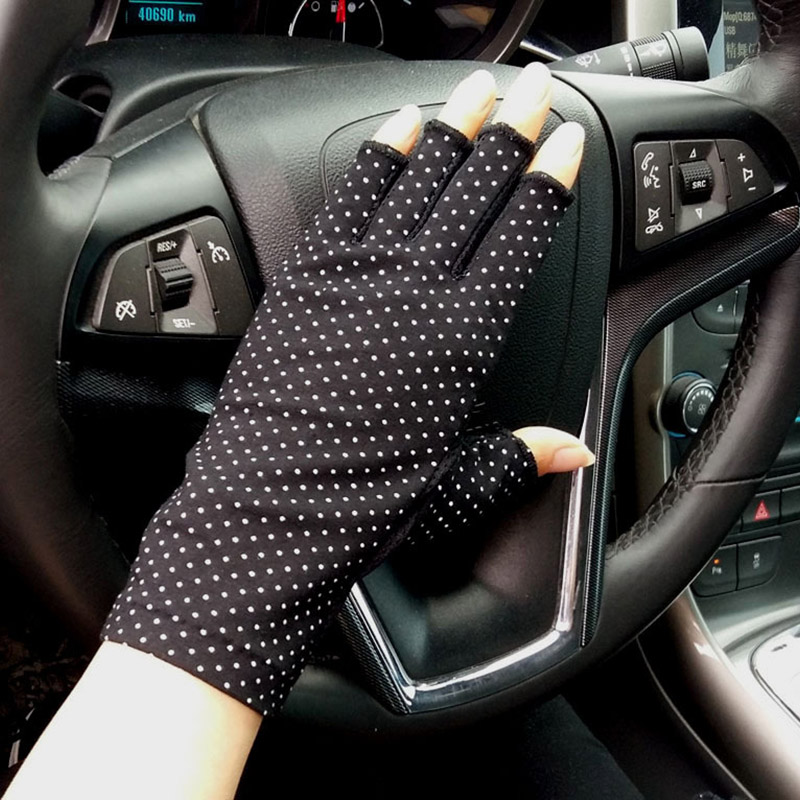 Female Sports Fitness Cycling Sunscreen Fingerless Touch Screen Gloves Women Thin Cotton Fashion Half Finger Driving Gloves B86