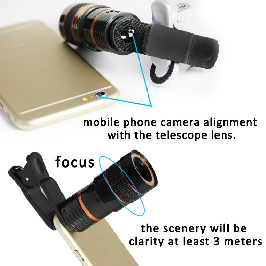 Universal 8X Zoom Telescope Telephoto Camera Lens Ikeacasa Free Shipping for Mobile Phone iPhone Samsung Galaxy Note