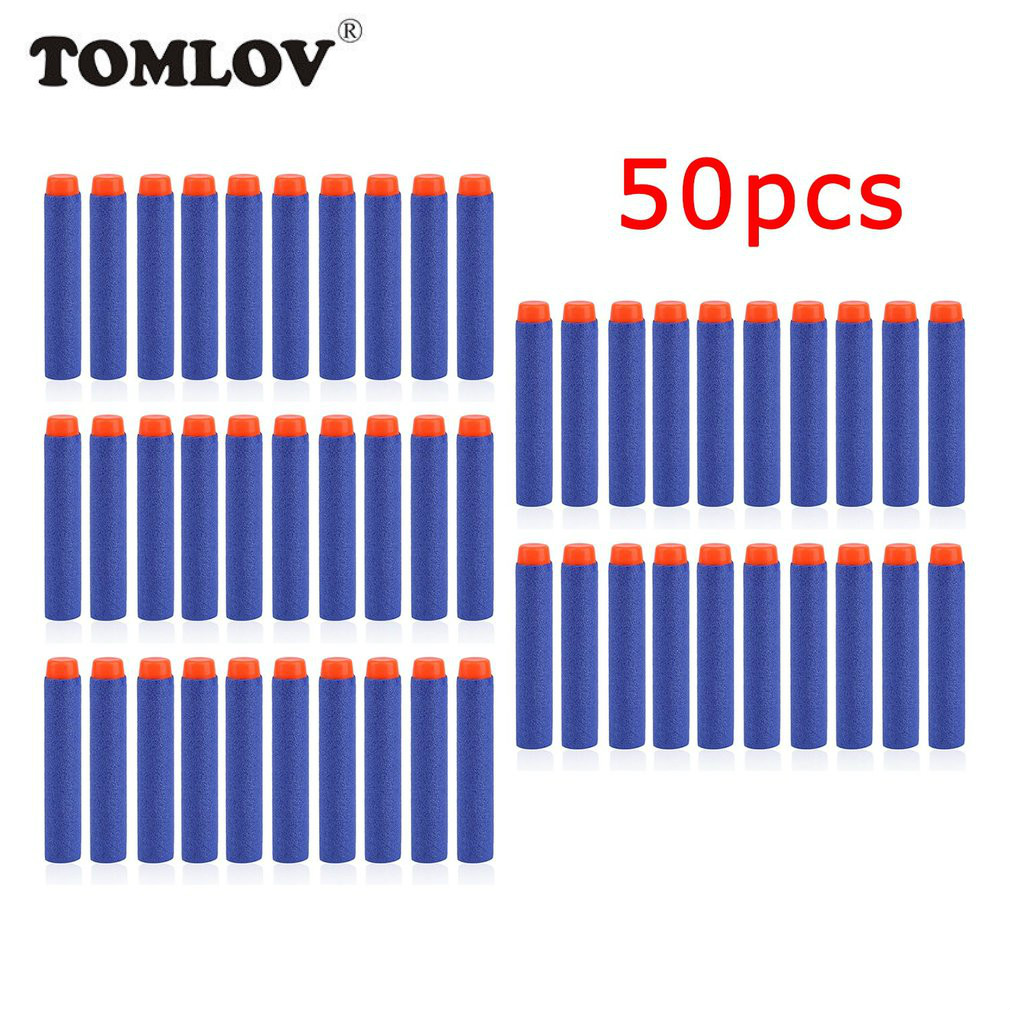 TOMLOV 50pcs Soft Gun Air Gun Bullets Darts EVA Solid Bullet Darts For NERF N-Strike Series Blasters Kid Toy Gun-blue