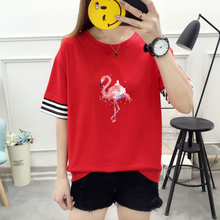 KPOP Fashion Patchwork Cuffs Female T-shirt Top Harajuku Loose Kawaii Print Short Sleeve Ulzzang Streetwear Summer Tees