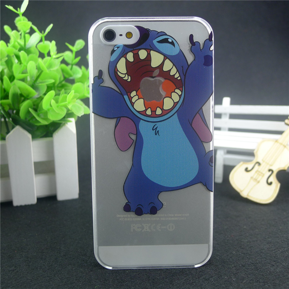 2017 top fasion transparent hard cases apple iphone 4 4S 5 5S 5C case homer Lilo & Stitch gasp logo clear - Shenzhen CY group co., LTD store