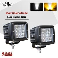 """CO LIGHT Led lampe de travail 12D 3 """"barre de lumière stroboscopique 48W 6500K 3500K clignotant pour tracteurs voiture Lada camions conduite antibrouillard 12V 24V"""