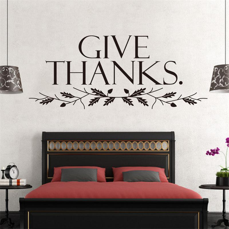 warm words quote Give Thanks Tree Branch home family decor wall sticker school <font><b>classroom</b></font> public <font><b>place</b></font> decal adesivo de parede