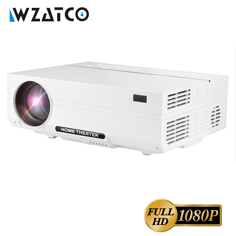 WZATCO CT61 Full HD 1080 P Android 7.1 Projecteur 5500 Lumens WIFI led bluetooth Projecteur 1920*1080 HDMI Home Cinéma 3D Proyector