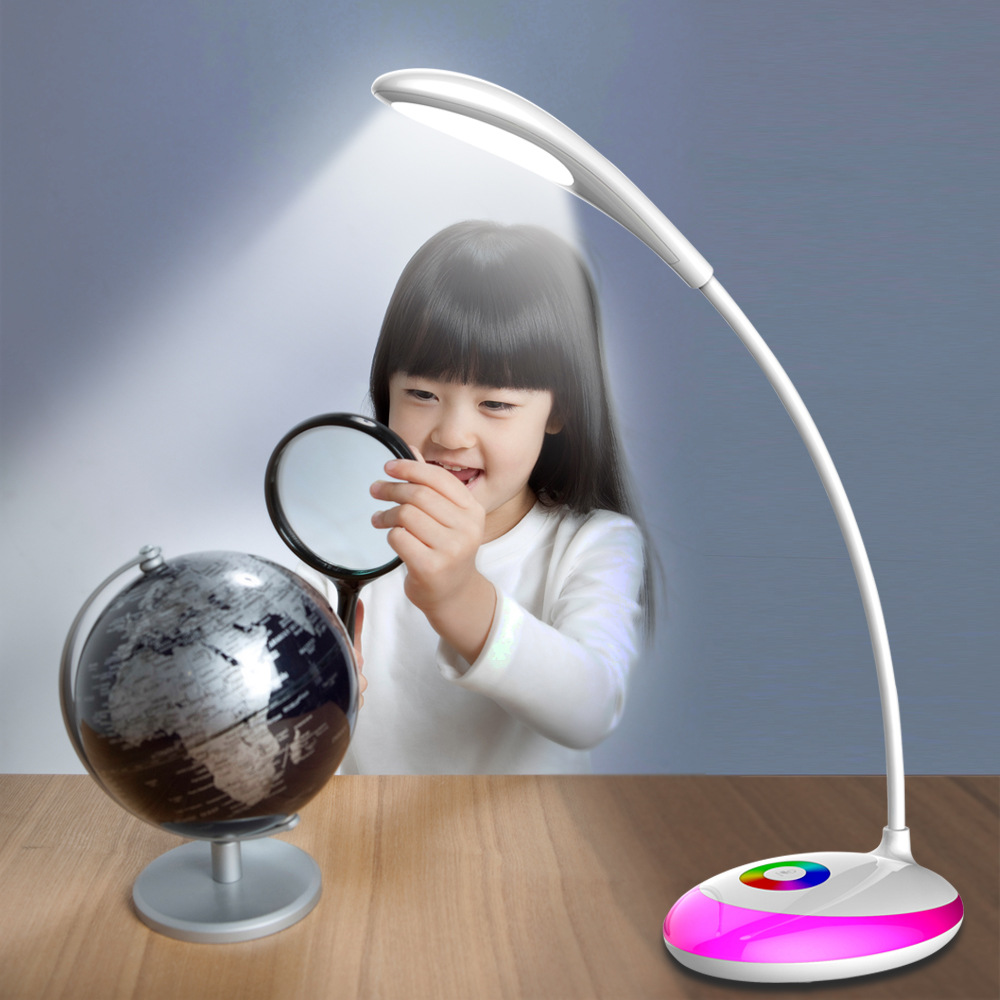 LED Study Light 3 Level Touch RGB Base Eye-protection Lamp Night Dimmable Desk Lamp USB Charging Book Reading Rechargeable Valve white rotating rechargeable led talbe lamp usb micro charging eye protection night light dimmerable bedsides luminaria de mesa