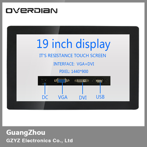 """Image 2 - 19"""" VGA/USB/DVI Interface Metal Frame Industrial Lcd Wide Screen Monitor 1440*900 Resistance touch Screen Buckle Fixed Display"""