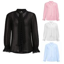 цена на Womens Autumn Flare Long Sleeves Blouse Sexy See-Through V-Neck Loose Tops Neck Tie Button Down Polka Dot Chiffon Sheer
