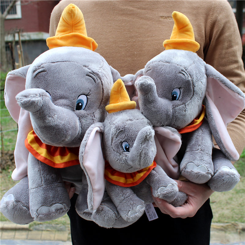 1piece 18-45cm  Original 2019 Dumbo Plush Cartoon Toys Gray Dumbo Elephant Figure Stuffed Plush Animals Soft Peluche Doll