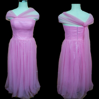 Custom Made Long Pleated Tulle Bridesmaid Dresses Length High Quality Wedding Party Dress Bridesmaid Gowns Pink