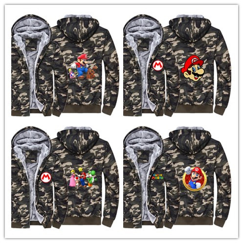 Hot game mario Hoodie Winter Casual Super Warm Camouflage Coat Thicken Warm Zipper Hooded Casual Sweatshirts