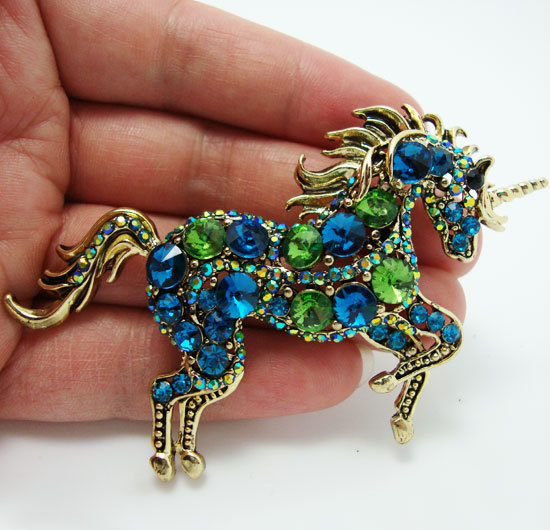 Elegant  Unicorn  Blue Crystal Rhinestone Brooch Pin Pendant