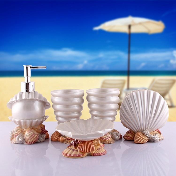 2016new 5pcs set resin creative shell bathroom sets bath for Cream bathroom accessories set
