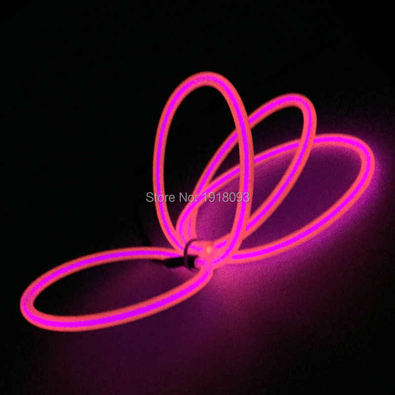Para Halloween Navidad DIY luces brillantes decoración 5,0mm 1 metro EL cable de iluminación Color rosa