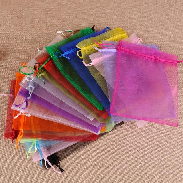 Offre spéciale 50 pcs/lot 10x15 cm couleur mélangée Organza sacs noël mariage faveur cadeau sacs Tulle bijoux bonbons poches pas cher vente