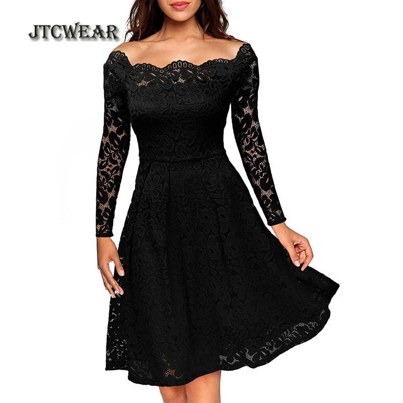 JTCWEAR Sexy Lace Slash Neck Long Sleeve Dress Elegant Vintage Ruffle Tunic Fit Flare Party Club