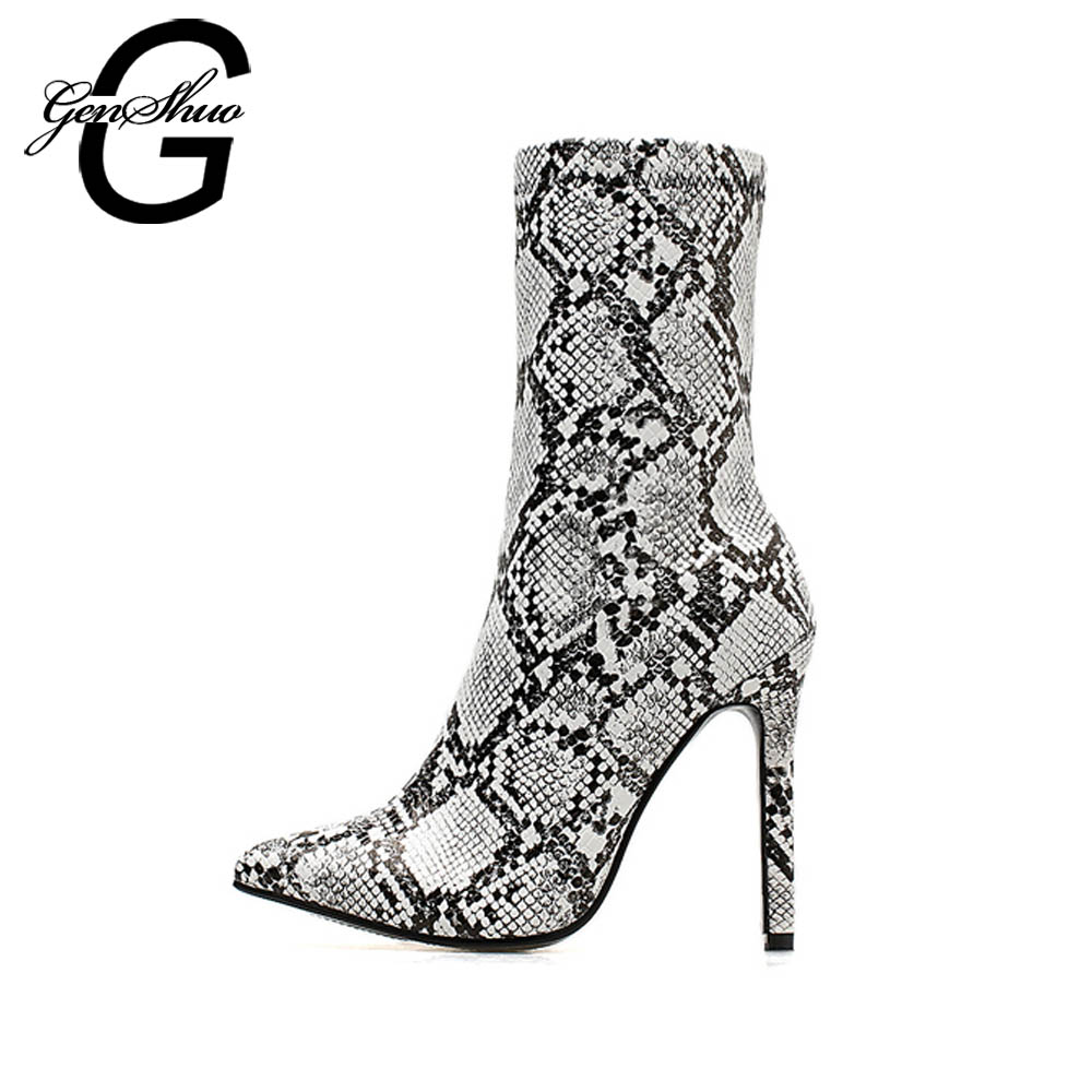 GENSHUO Fashion Serpentine Mid-Calf Boots For Women's Winter Boots Pointed Toe Stiletto Women Boots Ladies Pumps Female Shoes
