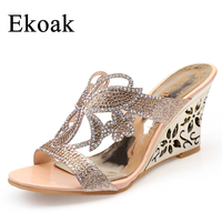 Size 34 43 New 2016 Fashion Summer Party Shoes Woman Rhinestone Cut Outs Wedges Sandals Ladies
