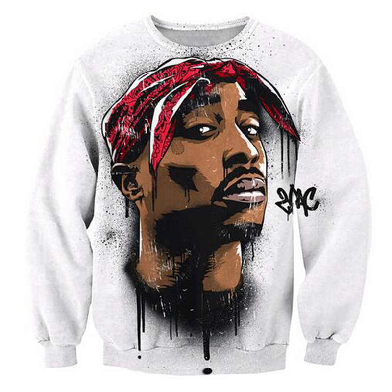 2019 nueva Sudadera con capucha estilo Harajuku para hombre/mujer hip hop Rap Star 2Pac Tupac 3D estampado sudaderas manga larga streetwear tops