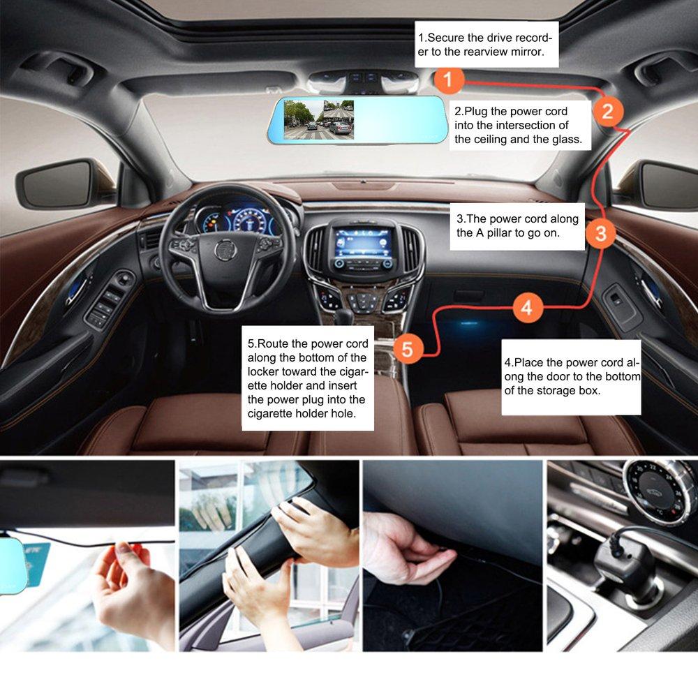 LESHP camera de voiture Voiture enregistreur vidéo 4.3 pouces LCD Full HD 1080 P avec Double Lentille 170 Degrés Grand Angle pour Véhicules dash Cam