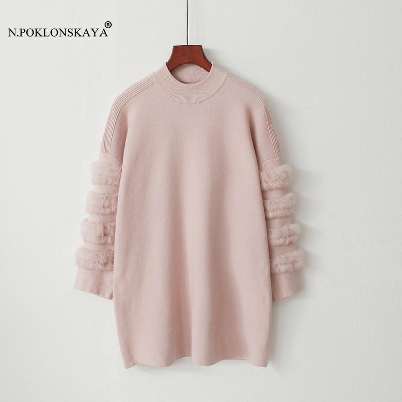 N.POKLONSKAYA Women Real Fur Sweaters Long Sleeve Autumn Winter Long Sweater Christmas Knitted Pullovers Warm Pull Femme