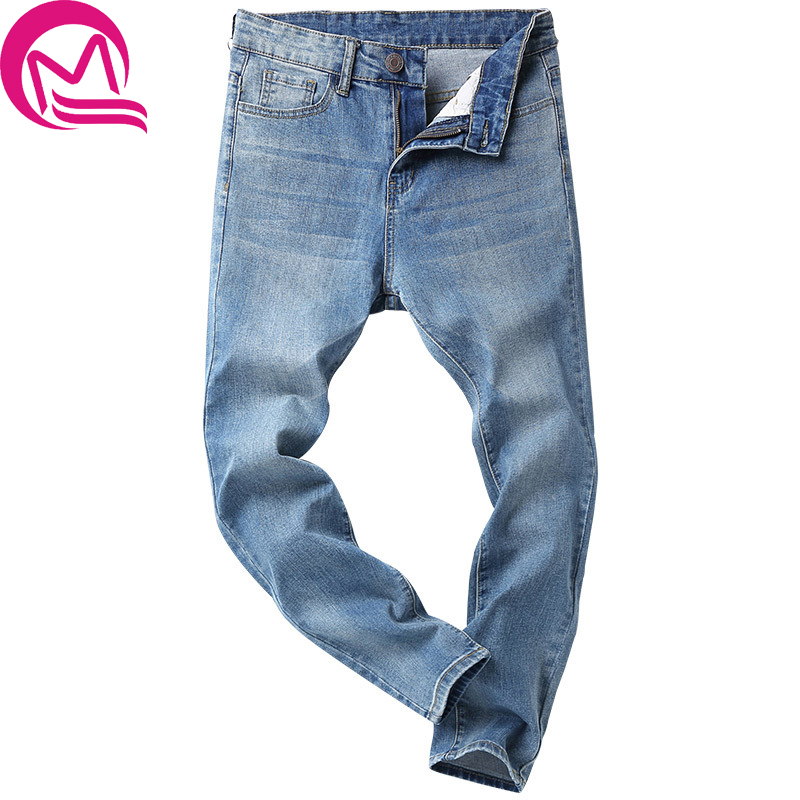 2017 Mens jeans Spring Atumn Men Casual Jeans Slim Pencil Pants Jeans Loose Waist Long Trousers hot sell loose lace up casual mens pencil pants