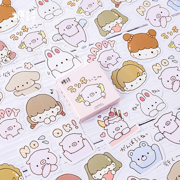 45pcs/lot Pig Girl Decoration Adhesive Stickers Diy Cartoon Stickers Diary Mini Sticker Scrapbook Kawaii Stationery Stickers