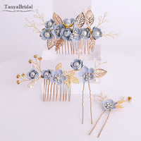 Gold with Dusty Blue Wedding Accessories Beauty Bridal Headdress 4 pieces Women hairpieces DH012