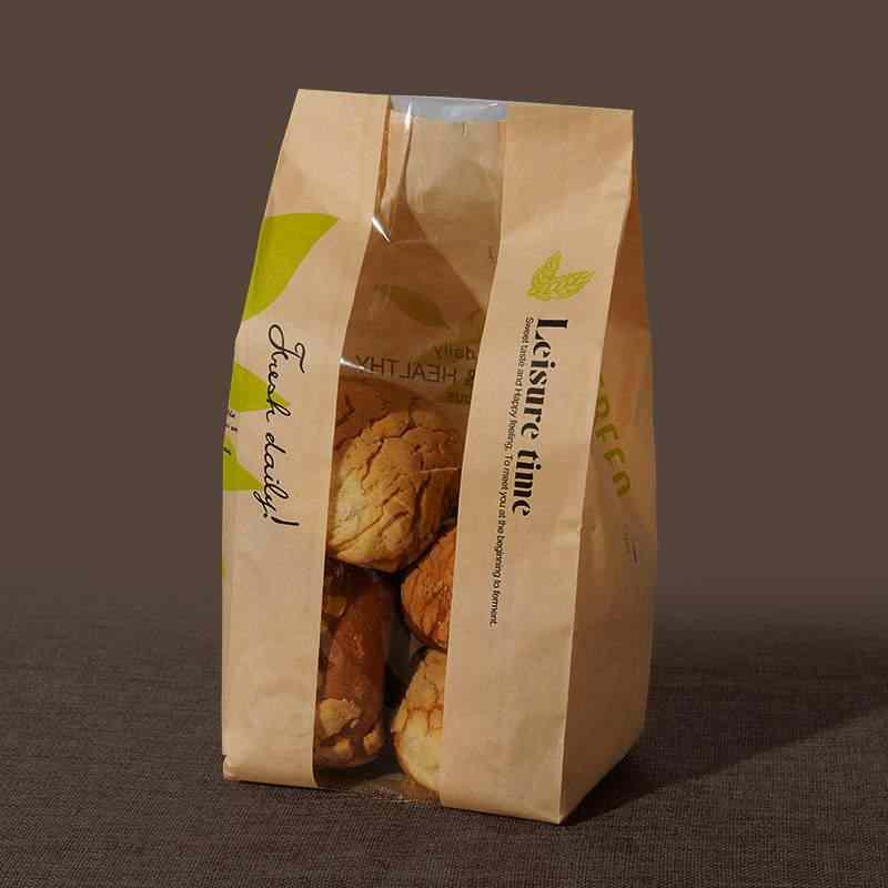 100 Pcs kraft bag window paper Donut Leisure Food Bread paper Food Packaging Cake Leisure Toast
