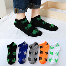 5pairs/lot Fashion Maple Leaf Mens Socks Cotton Short Boat Men Summer Invisible Casual Sport Funny Skateboard