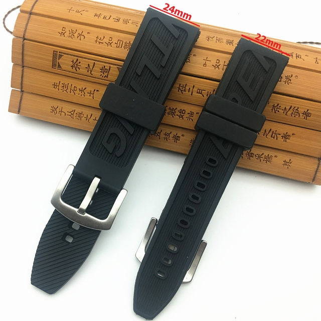 6de9a8113fc Top Brand Quality neature Rubber Watch Strap band 22mm 24mm Black Watchband  Bracelet For navitimer