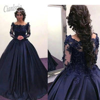 2019 3D Floral Applique Quinceanera Dresses Navy Blue with Long Illusion Sleeves Beaded Square Neck Ballgown Pageant Prom Dress