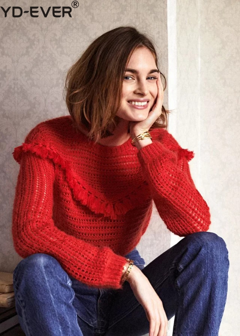 Women Red Hollow Out Tassel Mohair Soft Pull Sweater
