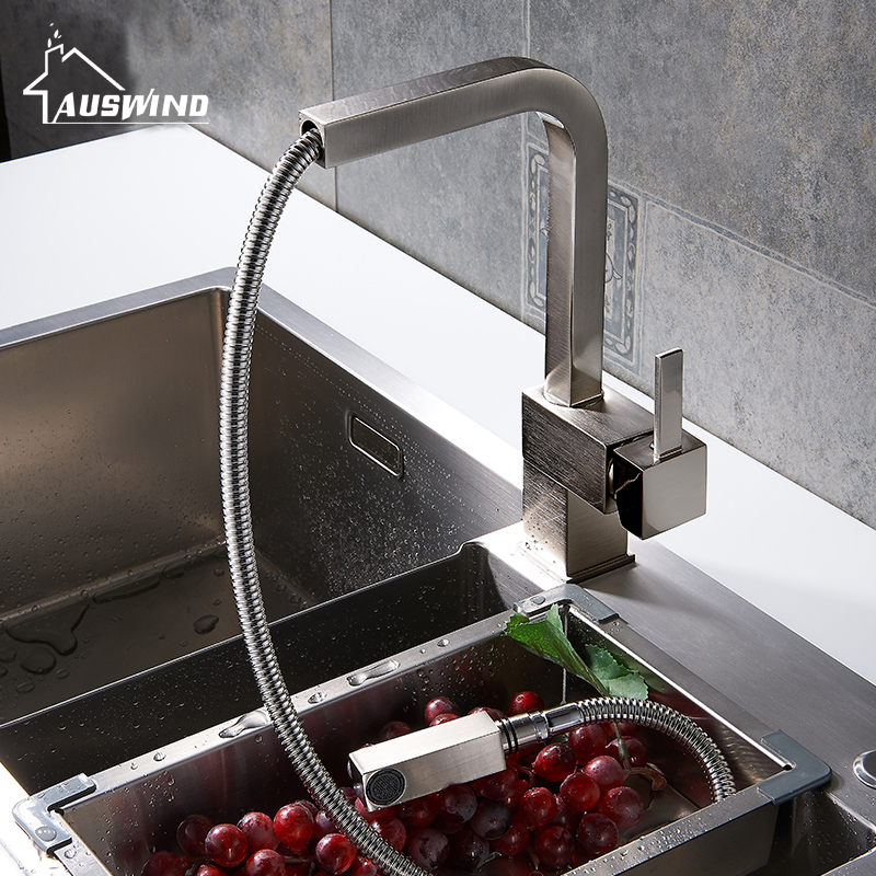 Pull Out Kitchen Faucets Square Brushed Sink Mixer Tap Swivel Spout Faucet Copper Basin Faucet Hot And Cold Water цена и фото