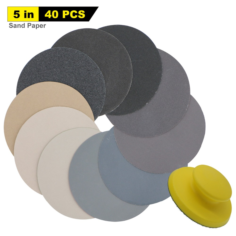 40pcs 5 Inch Wet Dry Sandpaper 80 To 7000 Assorted Grits + 1pc 5