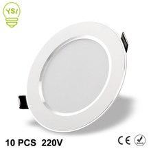 10 шт. светодиодный светильник 220 в 240 В 3 Вт 5 Вт 7 Вт 9 Вт 12 Вт 15 Вт светодиодный потолочный круглый встраиваемый светильник водонепроницаемый Светодиодный точечный светильник для ванной кухни