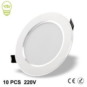 Image 1 - 10 adet Led Downlight 220V 240V 3W 5W 7W 9W 12W 15W LED tavan yuvarlak gömme lamba LED Spot ışık banyo mutfak için