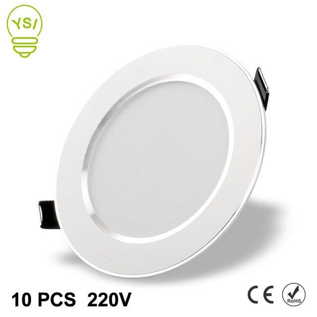10 adet Led Downlight 220V 240V 3W 5W 7W 9W 12W 15W LED tavan yuvarlak gömme lamba LED Spot ışık banyo mutfak için