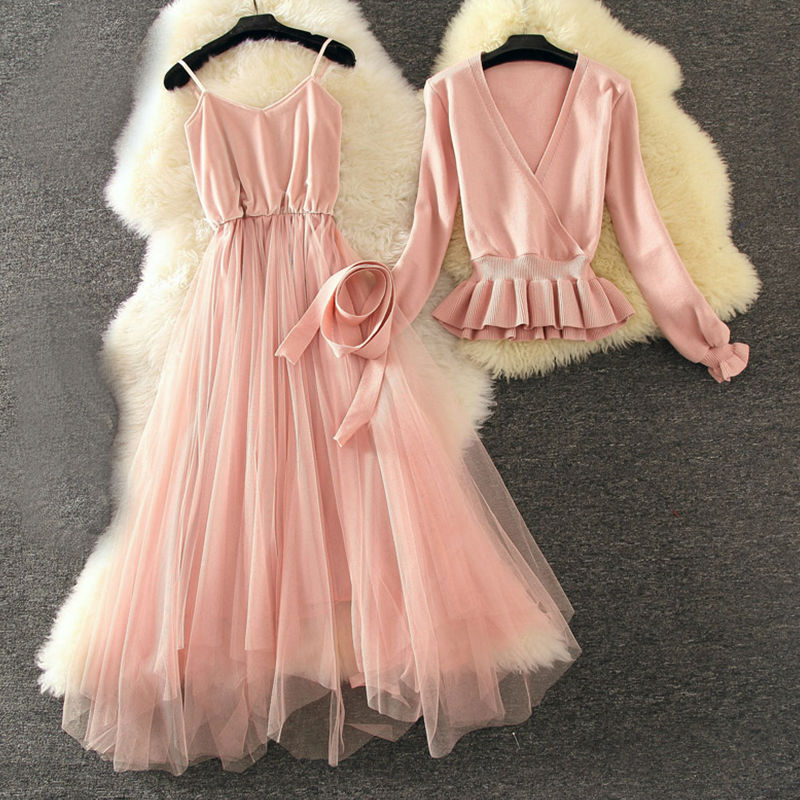 Autumn Graceful Sweater Dress 2pcs Sets V Collar Long Sleeve Sashes  1
