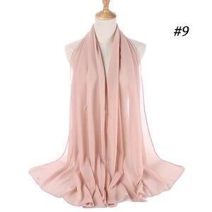 Image 5 - Popular Malaysia Style Muslim Hijabs Scarves/scarf Women Plain Bubble Chiffon Scarf Hijab Wrap Solid Shawls Headband Underscarf