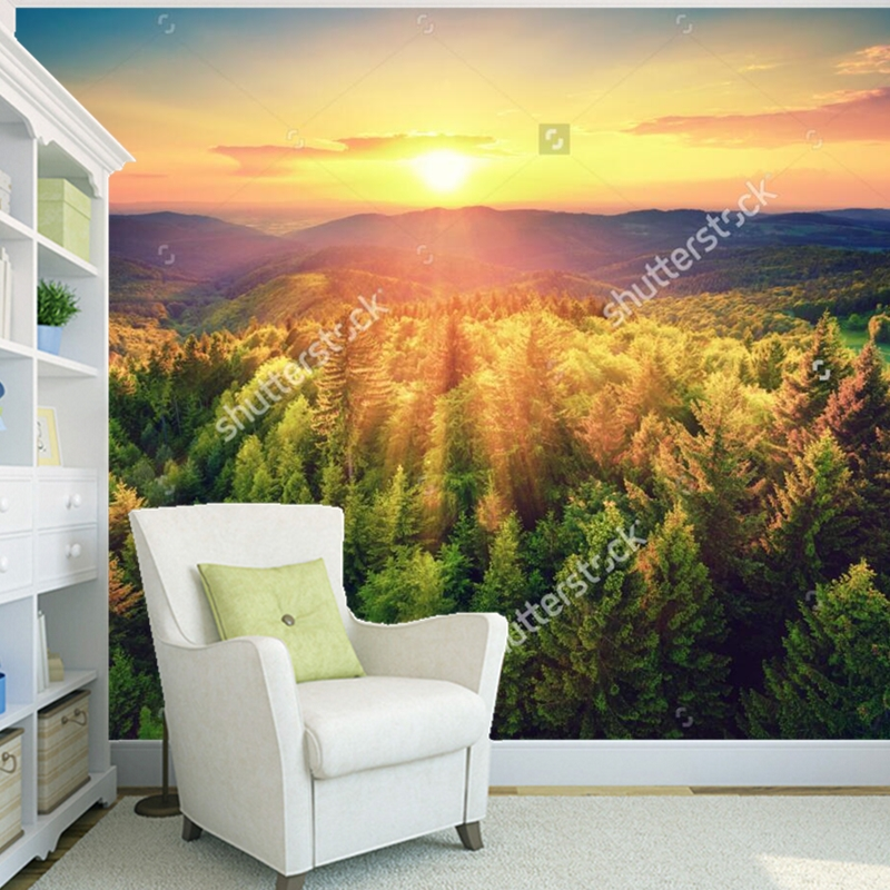Custom Landscape wallpaper,Sunset on Mount Forest,3D photo mural for living room bedroom restaurant background wall wallpaper local knowledge on communal forest management practices darimu oromo