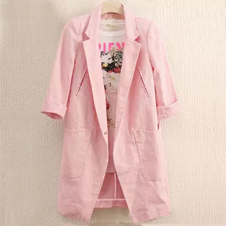 Dames write Jas Mantel pink Blazer Pink Blazers Coats Louson Damen Casual Femme Vb45 Ladies Blue Plus Size Long Women Short Summer Sleeve O71qw