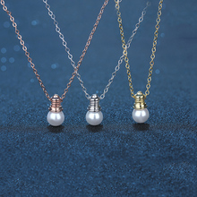 Round Shape Clasp Bulb Pendant Necklace for Women Cubic Zirconia Ball Long Pendants Necklaces For
