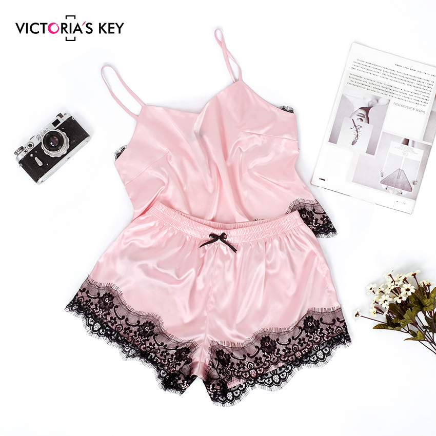 VICTORIA'S KEY Pink Satin Pajamas Women Summer Sleepwear Sexy Spaghetti Strap Cami Top Bow Knot Shorts Silk Slip Lace Pajama Set