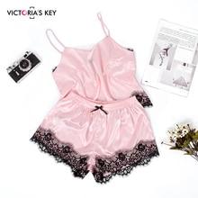 цена на VICTORIA'S KEY Pink Satin Pajamas Women Summer Sleepwear Sexy Spaghetti Strap Cami Top Bow Knot Shorts Silk Slip Lace Pajama Set