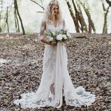 White Wedding Dress Tulle Lace Appliques V-Neck Front Zipper Three Quarter Romantic Bridal Gowns Vestido De Novia